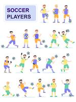 Set di giocatori di pallone da calcio con diverse pose vettore
