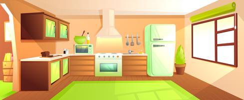 Interiore della cucina moderna con mobili. Camera di design con cappa e fornello e forno a microonde e lavello e frigorifero. Illustrazione di cartone animato vettoriale