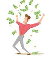 Un uomo del fumetto in piedi sotto soldi pioggia banconote e monete. vettore