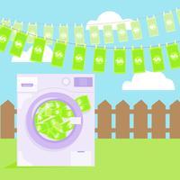 Riciclaggio di denaro sporco nell'illustrazione della lavatrice. Vettore piatta