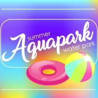 """Testo """"Aquapark"""" su uno sfondo sfocato. Vector piatta illustrazione"""
