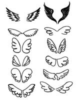 Set di vettore disegnato a mano di ali