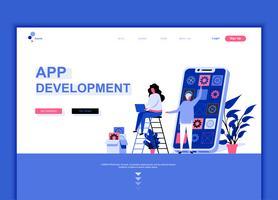 Concetto di modello di progettazione di pagina web piatto moderno di sviluppo app