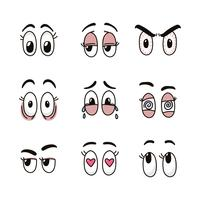 occhi colorati dei cartoni animati vettore