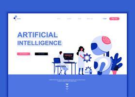Moderno concetto di modello di design piatto pagina web di intelligenza artificiale
