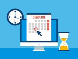 Banner di date e scadenze. Computer con calendario, orologio e clessidra. Illustrazione piatta vettoriale