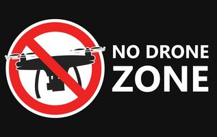 Nessun segno di zona drone. Nessuna zona di volo Illustrazione piatta vettoriale