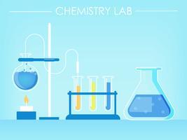 Banner di laboratorio di chimica. Provette, esperimenti, fuoco. Illustrazione piatta vettoriale