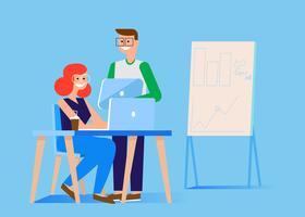 Banner del team di marketing. Uomo e donna in ufficio al computer e tablet. Grafici, tabelle e diagrammi. Illustrazione piatta vettoriale
