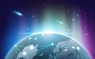 Pianeta terra con Aurora luce del concetto di tecnologia di rete
