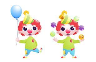 Un ragazzino personaggio pagliaccio si destreggia e scherza e si erge con un pallone in fondo al compleanno. Illustrazione di cartone animato vettoriale