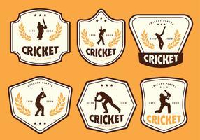 Pacchetto di vettore di etichetta sagoma giocatore di cricket