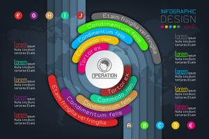 Origami del cerchio di Infographics di affari con l'illustrazione di vettore di stile dell'ombra.