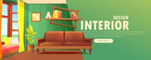 Banner di interior design. Retro soggiorno con divano e mobili moderni