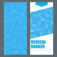 Banner verticale blu con icone mediche e posto per il testo