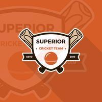 Modello di vettore di distintivo di cricket logo vintage piatto