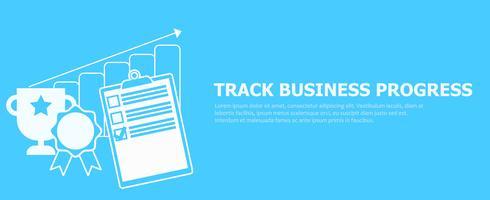 Traccia il banner di progresso aziendale. Illustrazione piatta vettoriale