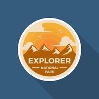 Modello di Logo di vettore del parco nazionale piatto distintivo retrò