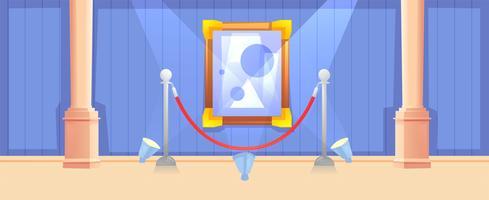 Immagine nel telaio in banner orizzontale della galleria. Design moderno del museo degli interni. Concetto di arte della pittura. Illustrazione di cartone animato vettoriale