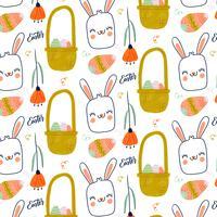 Modello carino di Pasqua con coniglietto sorridente, fiori e uova
