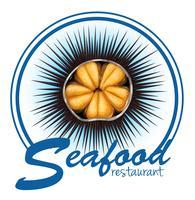 Etichetta di cibo di riccio di mare su bianco vettore