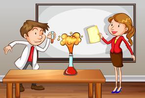 Insegnanti che fanno esperimento in laboratorio in classe vettore