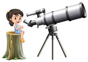 Bambina guardando attraverso il telescopio vettore