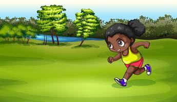 Una ragazza nera che fa jogging vettore