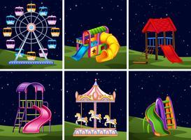 Insieme di elementi del parco giochi durante la notte vettore