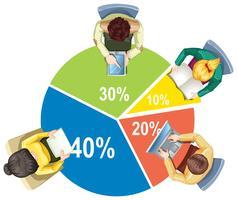Infografica con piechart e uomini d'affari