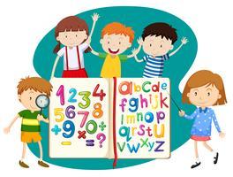Bambini con libro di matematica e inglese vettore