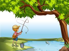 Ragazzo che pesca al fiume vettore