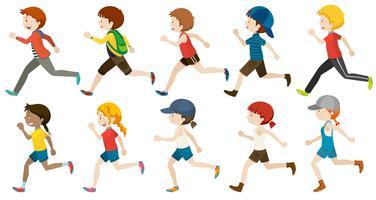 Ragazzi e ragazze che corrono vettore