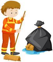 Uomo che pulisce il pavimento
