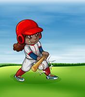 Ragazza che gioca a baseball all'aperto