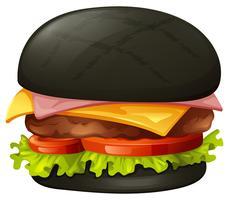 Hamburger con panino nero vettore