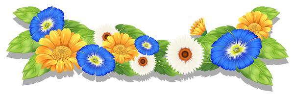 Pianta fiorita con fiori colorati vettore