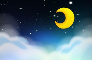 Scena notturna con luna e stelle