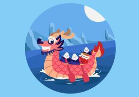 Illustrazione piana di vettore di Dragon Boat Festival di divertimento