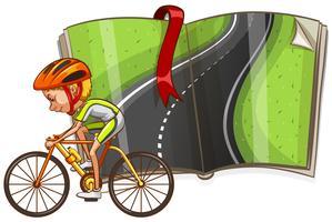 Ciclista e strada vuota nel libro vettore