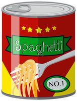 Cibo in scatola con spaghetti