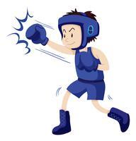 Uomo in attrezzatura blu che fa boxe vettore