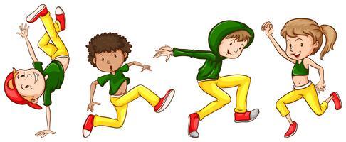 Uno schizzo dei ballerini con abiti verdi e gialli