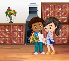 I bambini lavorano in biblioteca vettore