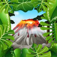 Scena con vulcano con lava vettore