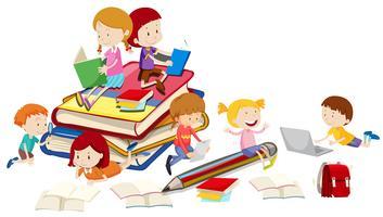 Bambini che leggono libri insieme vettore
