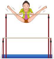 Donna che fa ginnastica sulle barre vettore