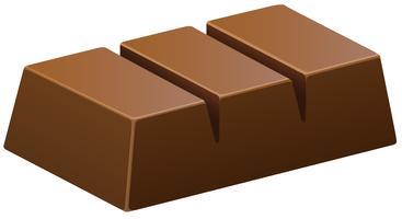 Barretta di cioccolato fondente su bianco