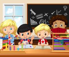 I bambini studiano in classe vettore