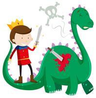 Principe che uccide un drago verde vettore